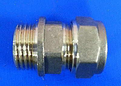 """Pack of  5 x 10mm x 3/8"""" MI Brass Compression Coupler Tapered. #561"""