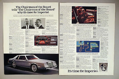 Chrysler Imperial 2-Page PRINT AD - 1980 ~ Frank Sinatra & Lee Iacocca
