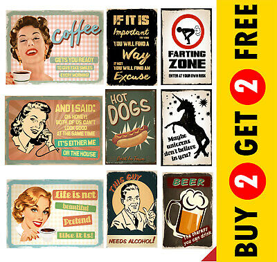 RETRO VINTAGE QUOTE POSTER SIGNS A3 A4 Funny Prints Christmas Gift Wall Art Deco