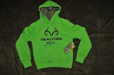 Realtree Kids Green Pullover Hoodie w/ Camo Lining Green/Black NWT Size XS