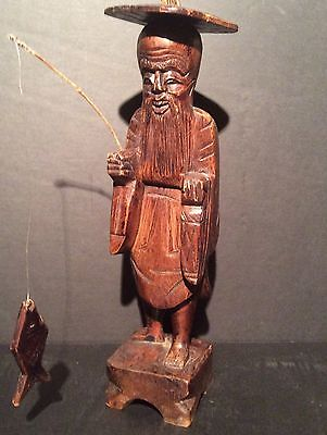 "CHINESE HAND CARVED Rosewood STATUE Old man FISHERMAN FIGURINE 14""H"