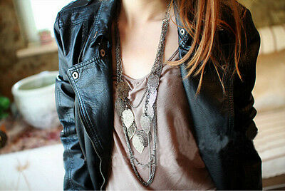 Retro Fashion Multilayer Leaves Pendant Long Chain Bohemian Necklace