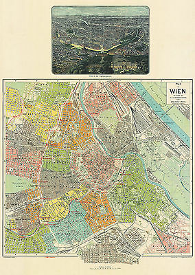 Wien (Vienna) Historical City Map from 1912 (A. Hartleben) Vintage Print Poster
