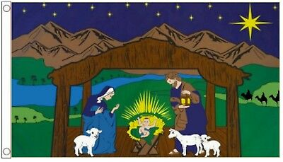 Christmas Nativity Scene Mary Joseph and Jesus Banner 5'x3' Flag !