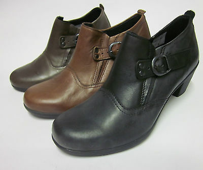 R12A Easy B Ladies Black Leather Ankle Boots Bell 78266A EE fitting