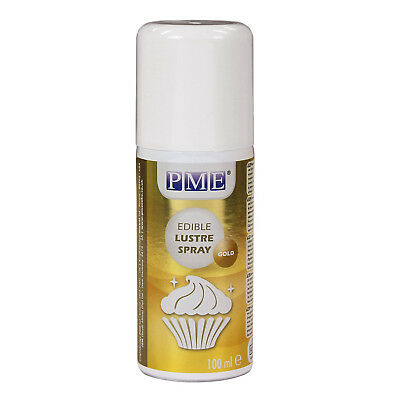 PME 100ml GOLD Edible Lustre Spray Food Fondant Icing Colouring Cup Cake Decor