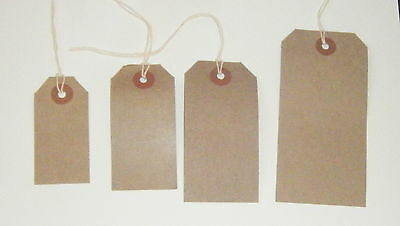 Brown Kraft Manilla Strung Gift Tags Tie On Luggage Craft Labels card strings