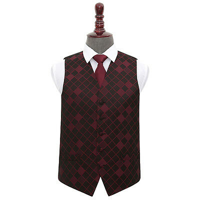 DQT Woven Diamond Patterned Burgundy Mens Wedding Waistcoat & Tie Set