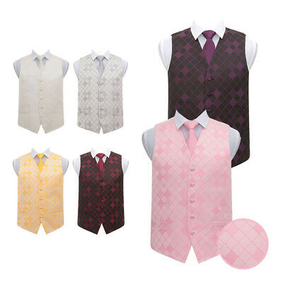 "DQT Premium Diamond Patterned Suit Vest Wedding Men's Waistcoat & Tie 36""-50"""