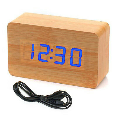Modern Wooden Wood USB/AAA Digital LED Alarm Clock Calendar Thermometer New ED