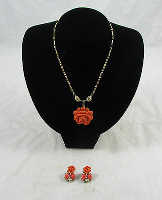 Vintage Coral Celluloid Floral Pendant Necklace and Earrings Set Goldtone Metal