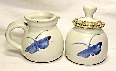 Cute Blue Butterfly Hand Thrown Stoneware Pottery Sugar Bowl/Lid and Creamer Set