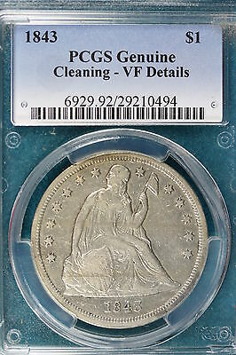 1843 PCGS Genuine Cleaning- VF Details Seated Liberty Dollar!! #SC18