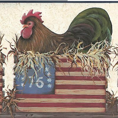 Folk Art Roosters & Hens - Patriotic USA Flag - ONLY $9 - Wallpaper Border A126