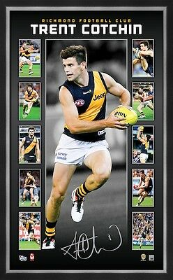 Official Afl Richmond Tigers Hand Signed Trent Cotchin Vertiramic Print Framed