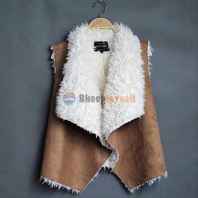 HOT Women's Winter PU Leather Fleece Vest Cream Outerwear Gilet Waistcoat Jacket