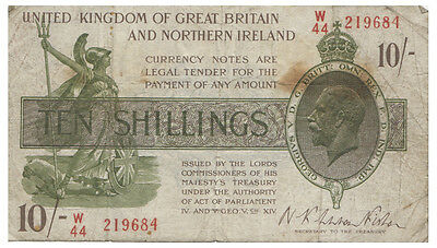 """Great Britain 1922 """"Without No."""" Ten Shillings Note F"""