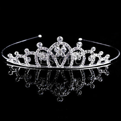 Wedding Bridal Princess Crystal Rhinestone Hair Crown Tiara Veil Prom Headband