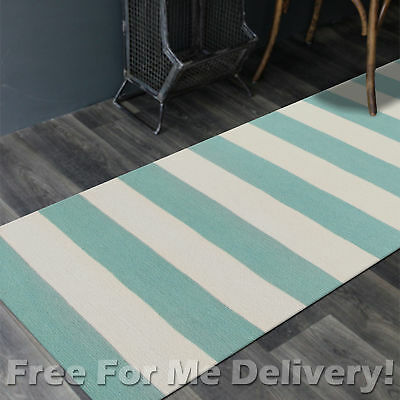 BAILEY WOOL BLUE STRIPES WOVEN KILIM DHURRIE RUNNER 80x300cm **FREE DELIVERY**