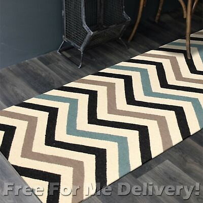 BAILEY WOOL BLUE ZAG-ZAG WOVEN KILIM DHURRIE RUNNER 80x400cm **FREE DELIVERY**