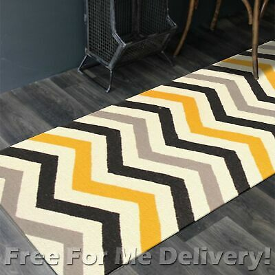 BAILEY WOOL YELLOW ZAG-ZAG WOVEN KILIM DHURRIE RUNNER 80x400cm **FREE DELIVERY**