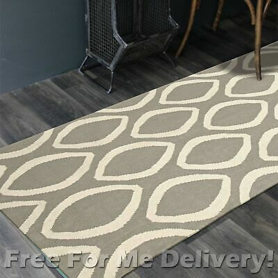 BAILEY WOOL GREY OPAL WOVEN KILIM DHURRIE RUNNER 80x400cm **FREE DELIVERY**