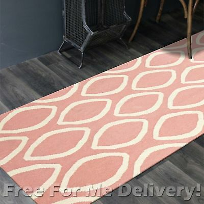 BAILEY WOOL PINK OPAL WOVEN KILIM DHURRIE RUNNER 80x400cm **FREE DELIVERY**