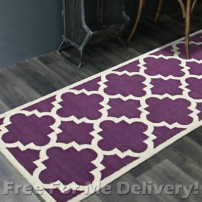 BAILEY WOOL PURPLE TRELLIS WOVEN KILIM DHURRIE RUNNER 80x300cm **FREE DELIVERY**
