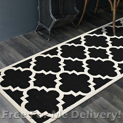 BAILEY WOOL BLACK TRELLIS WOVEN KILIM DHURRIE RUNNER 80x400cm **FREE DELIVERY**