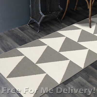 BAILEY WOOL GREY ARROWS WOVEN KILIM DHURRIE RUNNER 80x300cm **FREE DELIVERY**