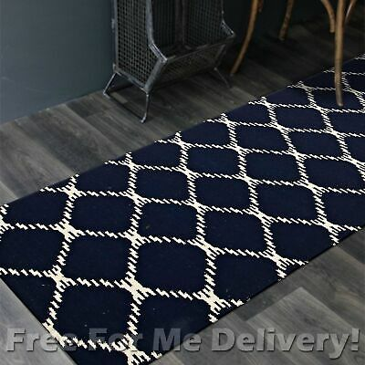 BAILEY WOOL NAVY BLUE LINK WOVEN KILIM DHURRIE RUNNER 80x400cm **FREE DELIVERY**