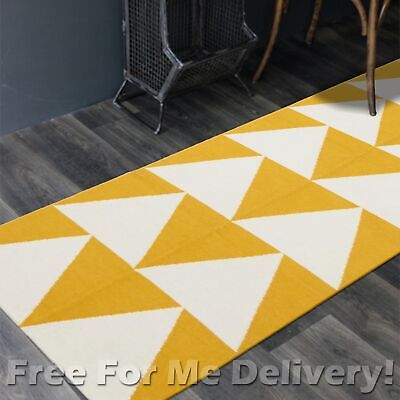 BAILEY WOOL YELLOW ARROWS WOVEN KILIM DHURRIE RUNNER 80x300cm **FREE DELIVERY**