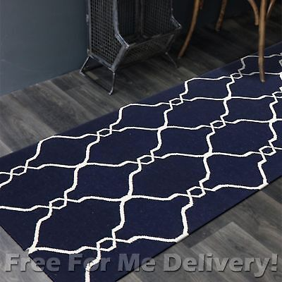 BAILEY WOOL NAVY TRELLIS WOVEN KILIM DHURRIE RUNNER 80x300cm **FREE DELIVERY**