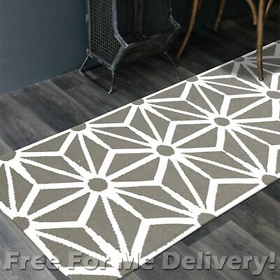 BAILEY WOOL GREY STARS GEO WOVEN KILIM DHURRIE RUNNER 80x300cm **FREE DELIVERY**