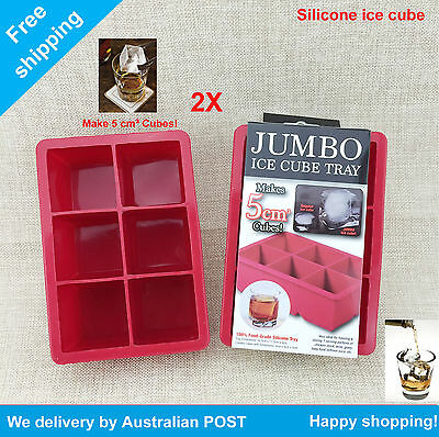 2x Silicone Jumbo Ice Cube Tray - Creates 6 pcs Ice Cube Makes 5*5cm³ Cubes
