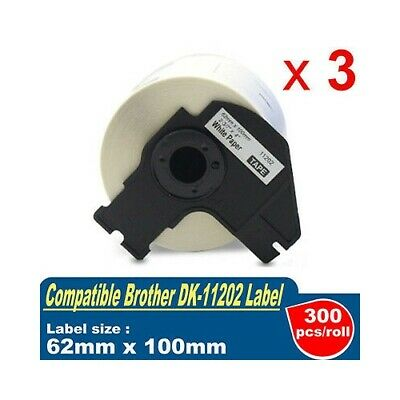 3 Roll Compatible for Brother DK-11202 62mm x 100mm Shipping Label QL-500 QL-570
