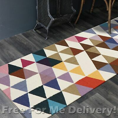 BAILEY WOOL COLOUR TRIANGLES WOVEN KILIM DHURRIE RUNNER 80x300cm FREE DELIVERY**