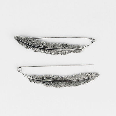 2 x Silver Tone Large Feather Durable Strong Metal Kilt Scarf Brooch Safety Pin
