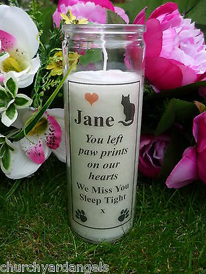 Pet Memorial Candle - Personalised - Suitable for outdoors - Cat