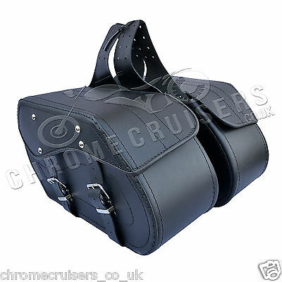 Motorcycle Black Leather Saddlebags Panniers Kawasaki Vn900 1500 1600 1700 C12