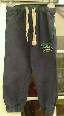 Next Boys Navy Blue Drawstring Waist Jogging Style Leisure Trousers - Aged 3 Yrs