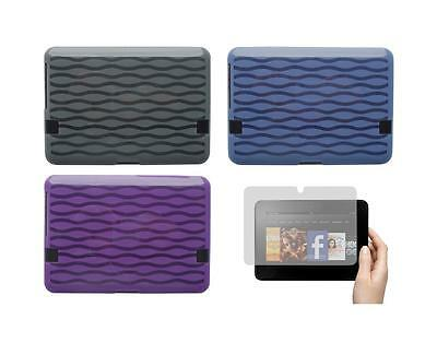 "TPU Gel Skin Cover Case and Screen Protector for Amazon Kindle Fire HD 7"" 2012"