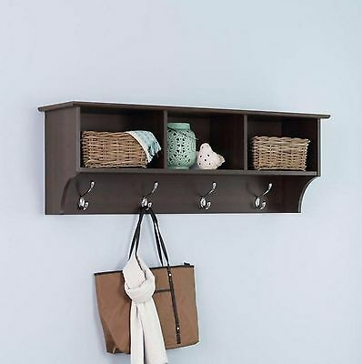 New Wall-Mount Coat Rack in Espresso with 4 Hooks and Cubbie Shelf Storage
