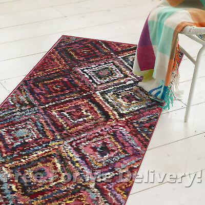 MADRID DIAMONDS COLOURFUL DESIGNER FLOOR RUG RUNNER 80x300cm **FREE DELIVERY**