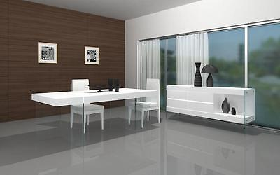 J&M Cloud Dining Table White Lacquer High Gloss Contemporary Modern Chic Style