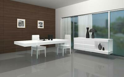 J&M Cloud Dining Set White Lacquer High Gloss Contemporary Modern Chic Style