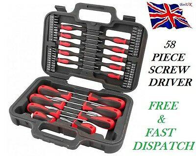 58 Piece Screwdriver & Bits Set Philips Flat Slotted Precision Torx Pozi + Case