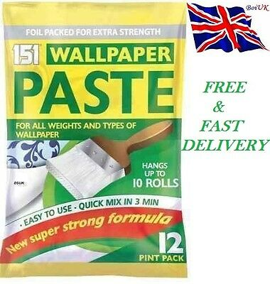 10 Roll Wallpaper Paste Pk 12 Pints Super Strong Stick Adhesive All Purpose