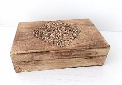 Hand Carved Wood Box with Ornate Celtic Cross Carving Small Medium Large