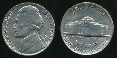 United States, 1986-P 5 Cents, Jefferson Nickel - Uncirculated